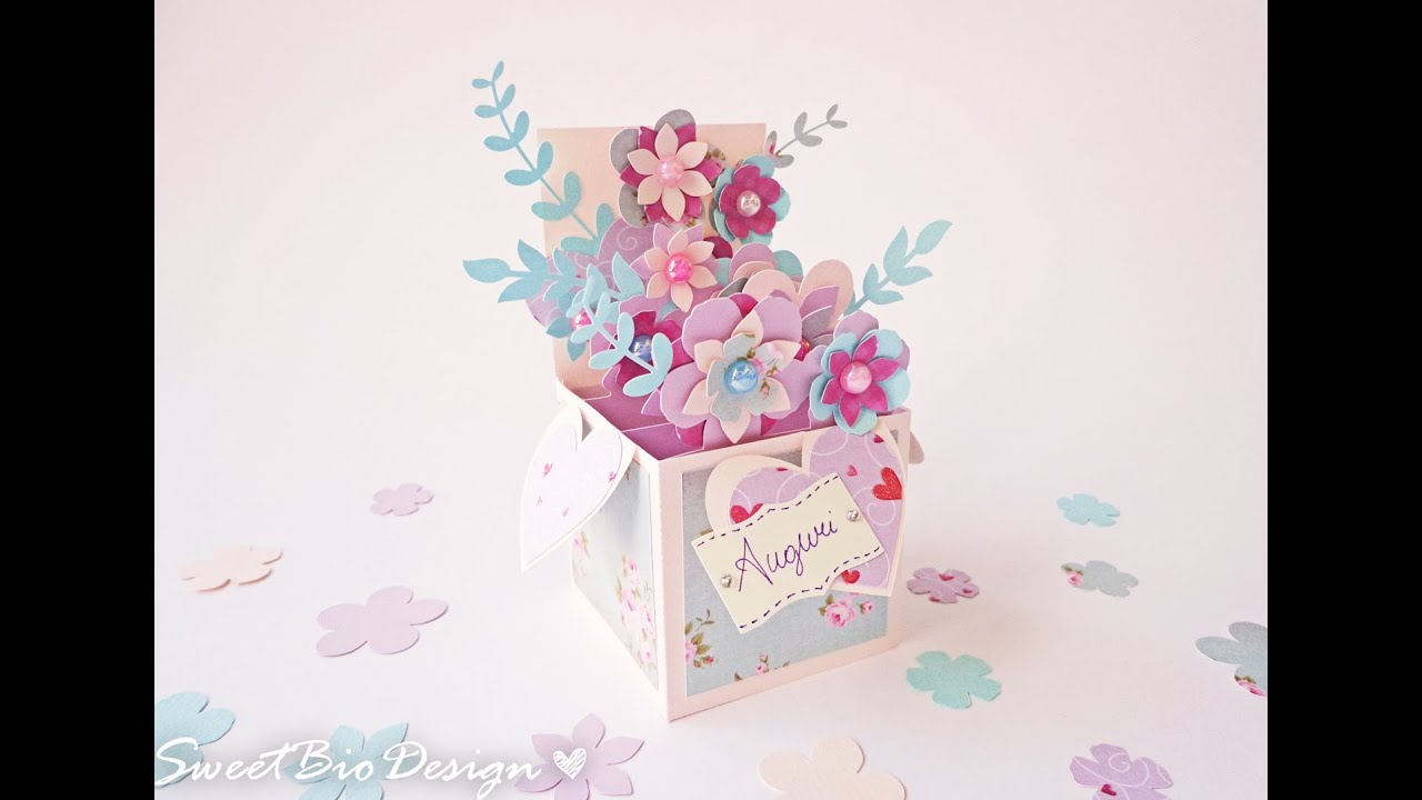 Scatola fiori pop up card pop up 3d flowers youtube for 3d pop up card templates free