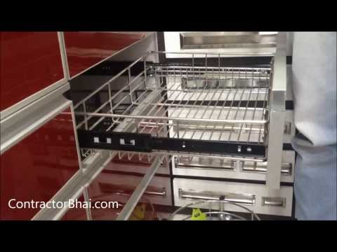 How we can set modular kitchen accessories i basket in kitchen india a manufacturer video for Modular kitchen trolley designs