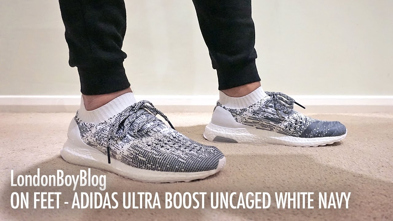f1fb576b5aaa9f On Feet - Adidas Ultra Boost Uncaged White Navy - YouTube