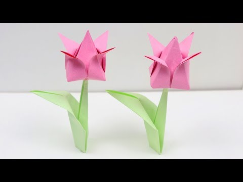 How to Make Easy Origami Tulip Flowers🌷 - DIY | A Very Simple Paper Tulip 🌷 for Beginners Making