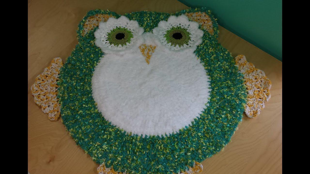 Crochet alfombra lechuza o buho para decorar cuarto de for Alfombras de juegos para ninos