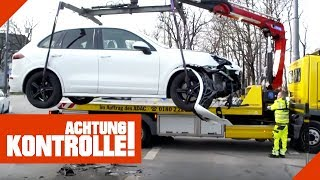 Porsche Cayenne zu schrott gefahren: ADAC muss abschleppen! | Achtung Kontrolle | kabel eins