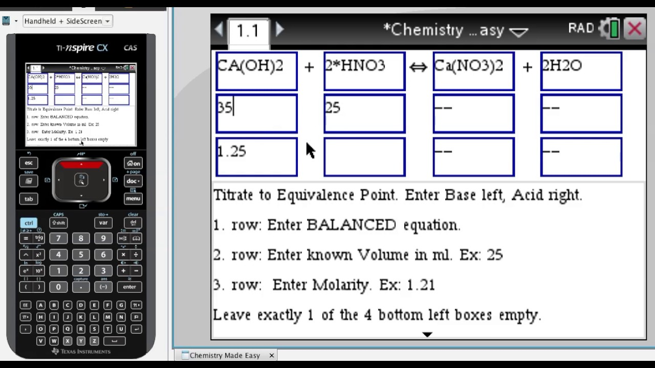 ▷Chemistry Made Easy - Step by Step ✅ - with the TI-Nspire CX (CAS