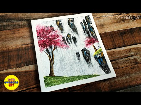 Drawing & Painting #23|Acrylic|Beautiful Waterfall Landscape Scenery Painting tutorial for beginners