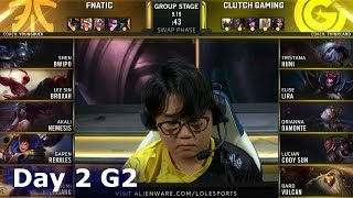FNC vs CG | Day 2 S9 LoL Worlds 2019 Group Stage | Fnatic vs Clutch Gaming