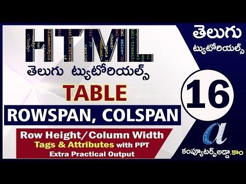 HTML Telugu Tutorials Part-16    Rowspan & Colspan In Table    Inc/Dec Row Height & Column Width