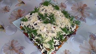 Салат с селедкой и жареными шампиньонами