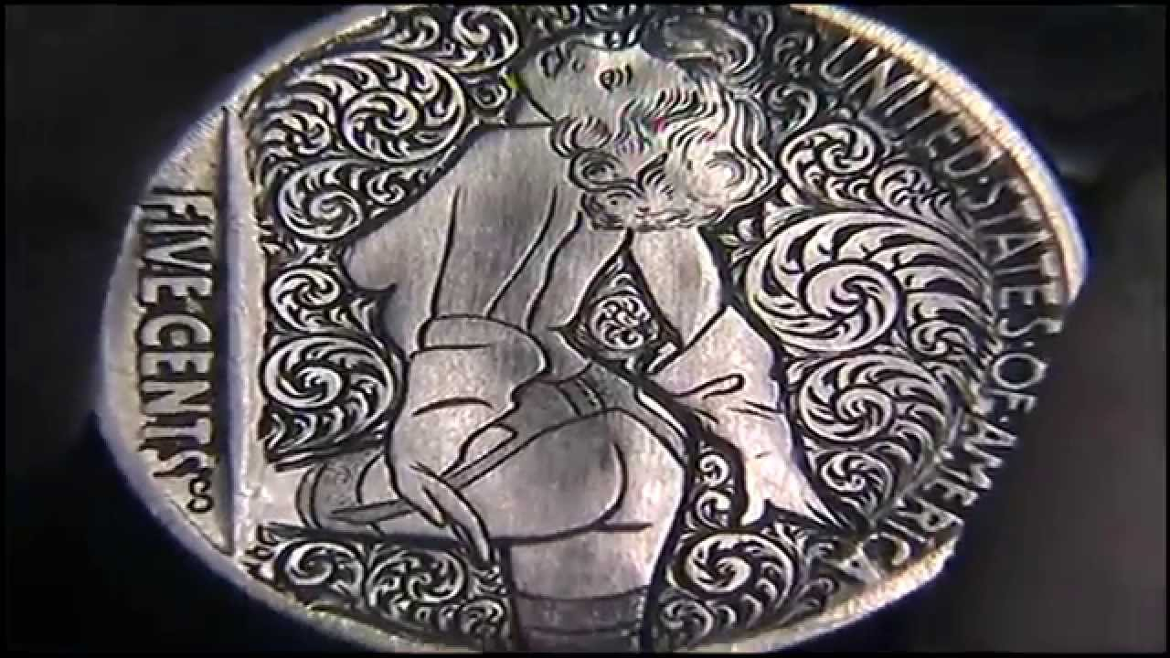 Hand Engraved Ornate Scrollwork Nude Coin by Shaun Hughes Hobo Nickel
