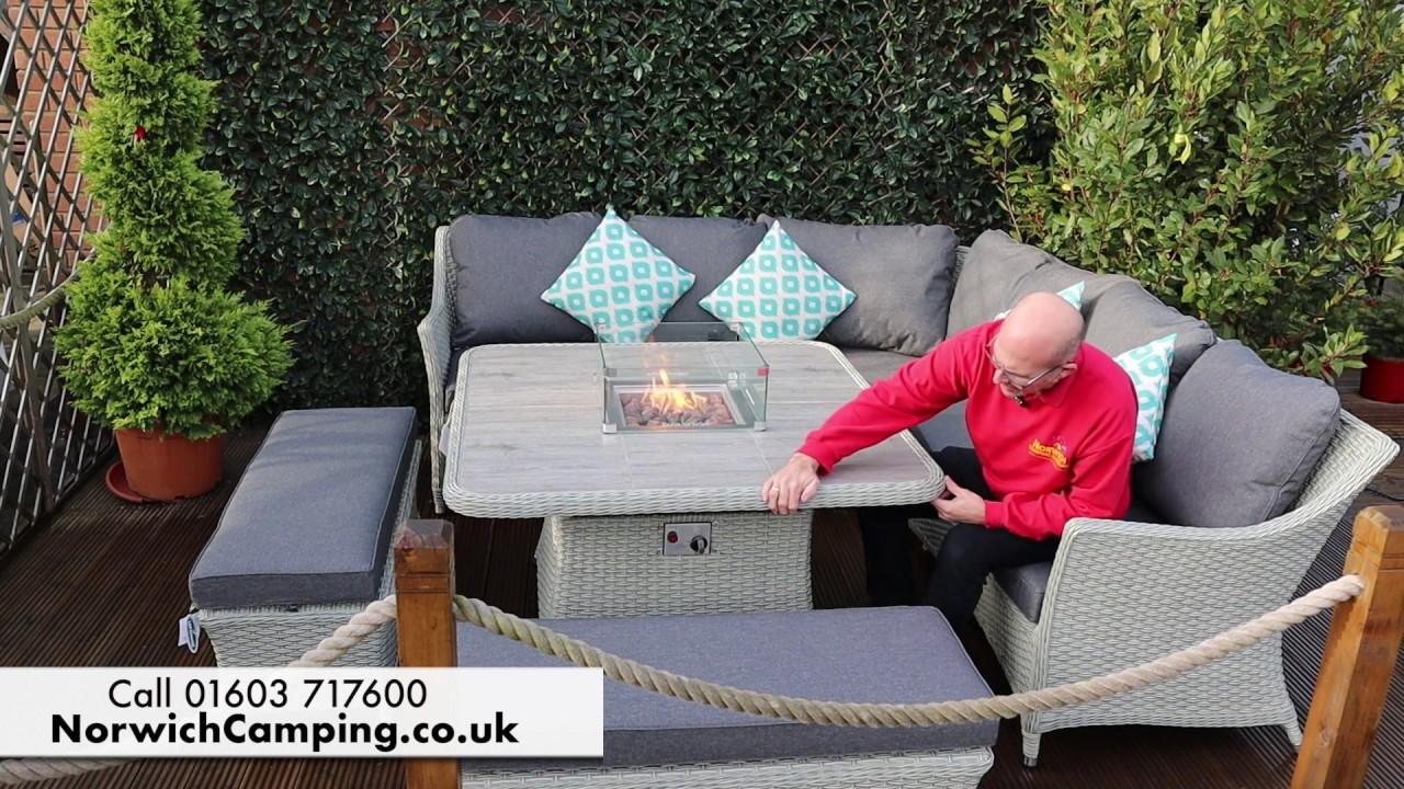 Bramblecrest Ascot Square Firepit Casual Dining Set Quinton Grey Youtube