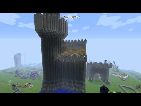 minecraft wip castle wall and tower