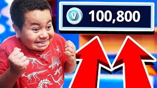 Kid obtient SURPRISED avec 100.000 V dollars en fortnite! RÉACTION PRICELESS non clickbait!!!