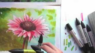 Drawing a flower with markers and pencil