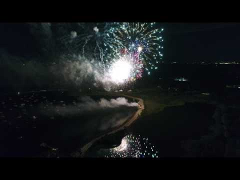 Drone view of the 2017 Bristol, RI 4th of July Fireworks Grand Finale