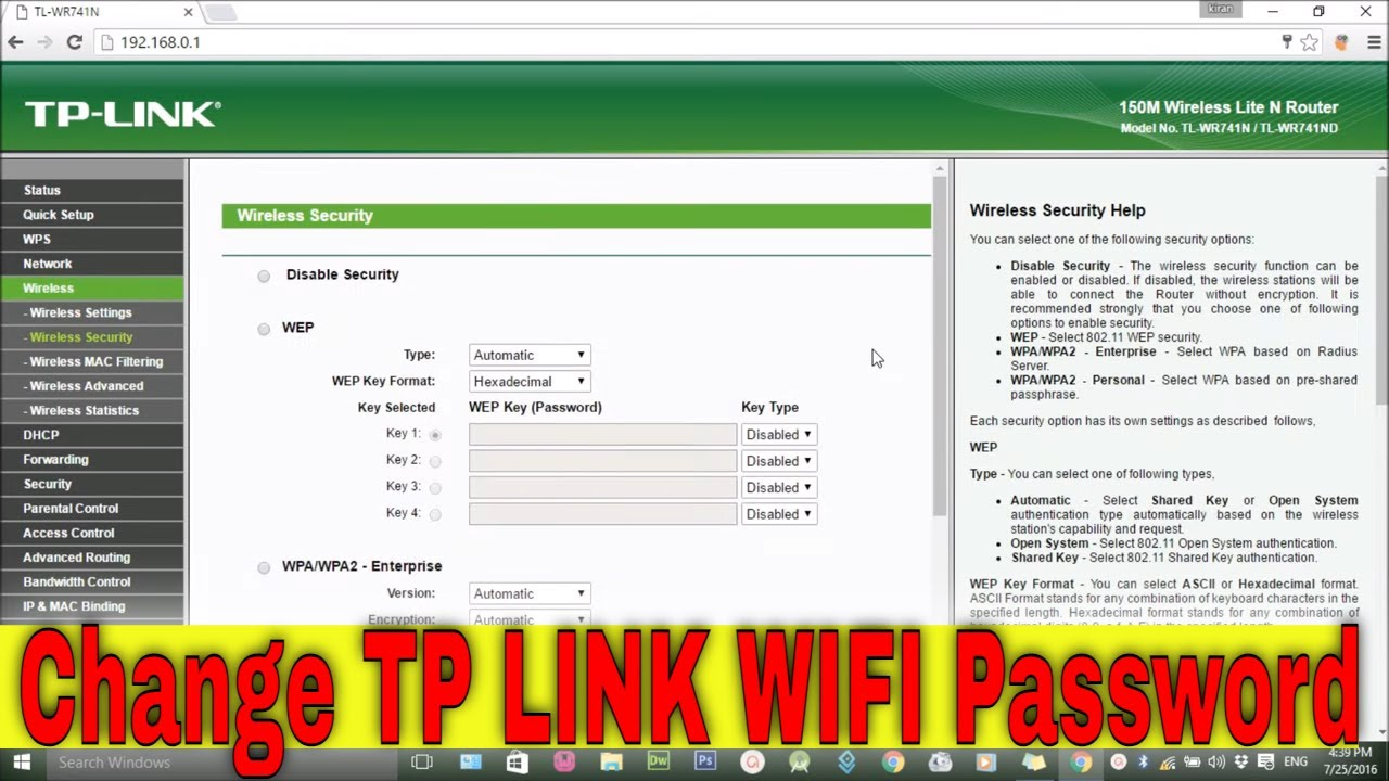 How to change WiFi password? (TP Link)