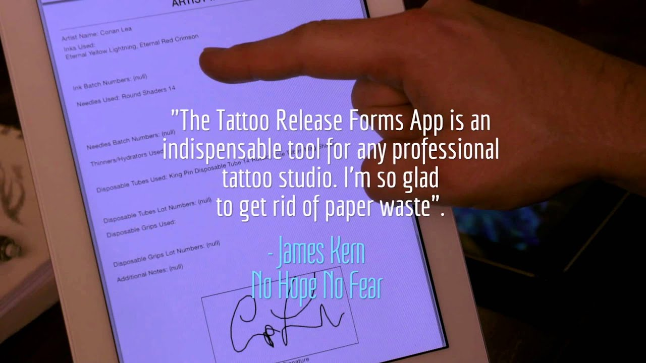 Tattoo Release Forms App In 67 Seconds Youtube