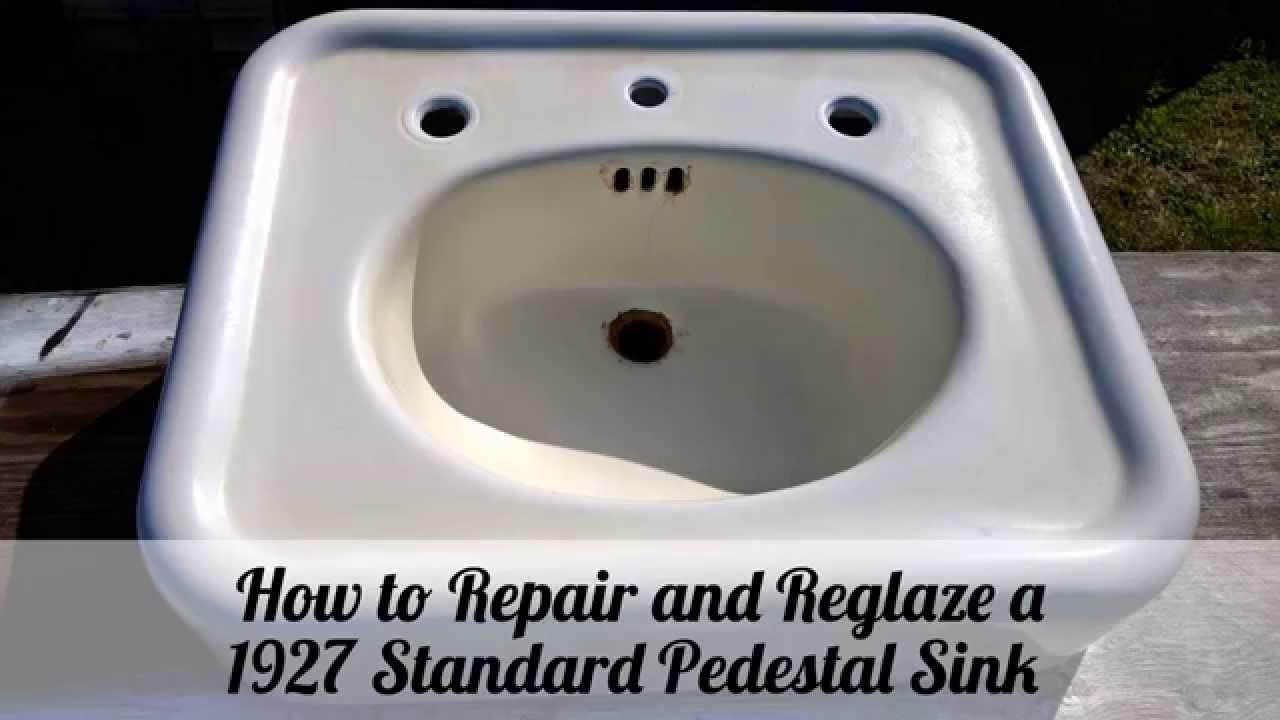 How To Repair And Reglaze A Pedestal Sink YouTube - Reglaze a bathroom sink