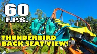 Thunderbird! World's FIRST B&M Launched Wing Roller Coaster! Back Seat View Holiday World 60 FPS POV