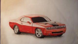 Dibujando Dodge Challenger / Drawing Dodge Challenger