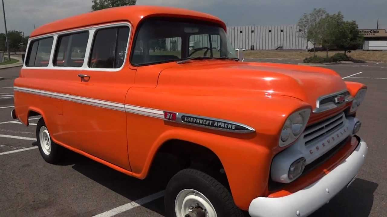 Truck 1955 chevy apache truck for sale : RARE! 1959 Chevrolet Suburban 1/2 ton on Napco 4x4 frame For Sale ...