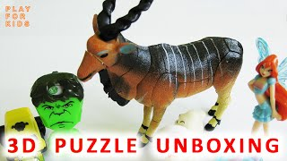 Unboxing puzzle eggs 3D Giant Eland  - Wild Animal for kids