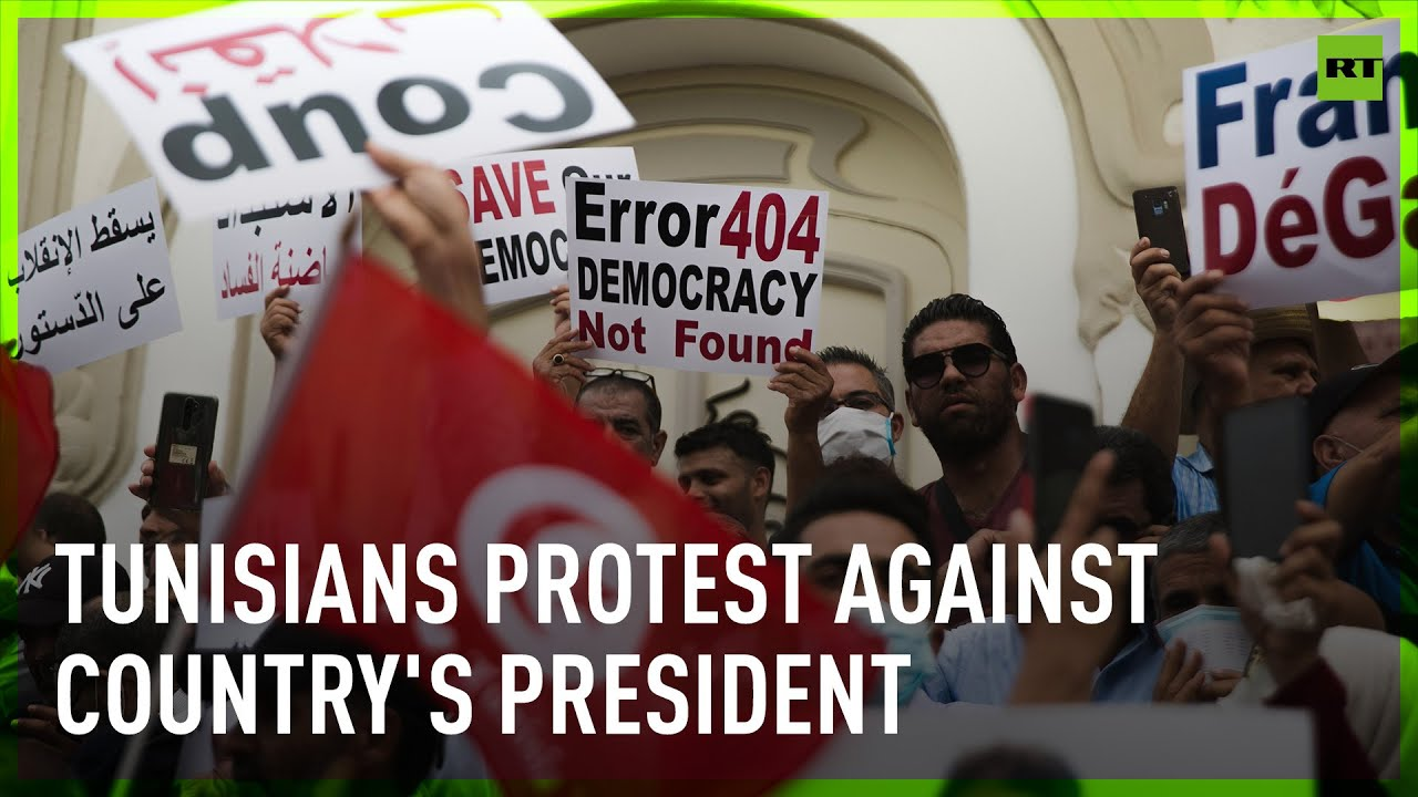 Demonstrators in Tunisia march against President Saied