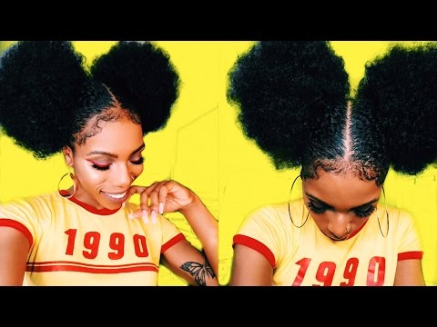 $5 AFRO PUFF & BABY HAIR GOALS⎮STYLE-TORIAL! 90s/70s INSPIRED