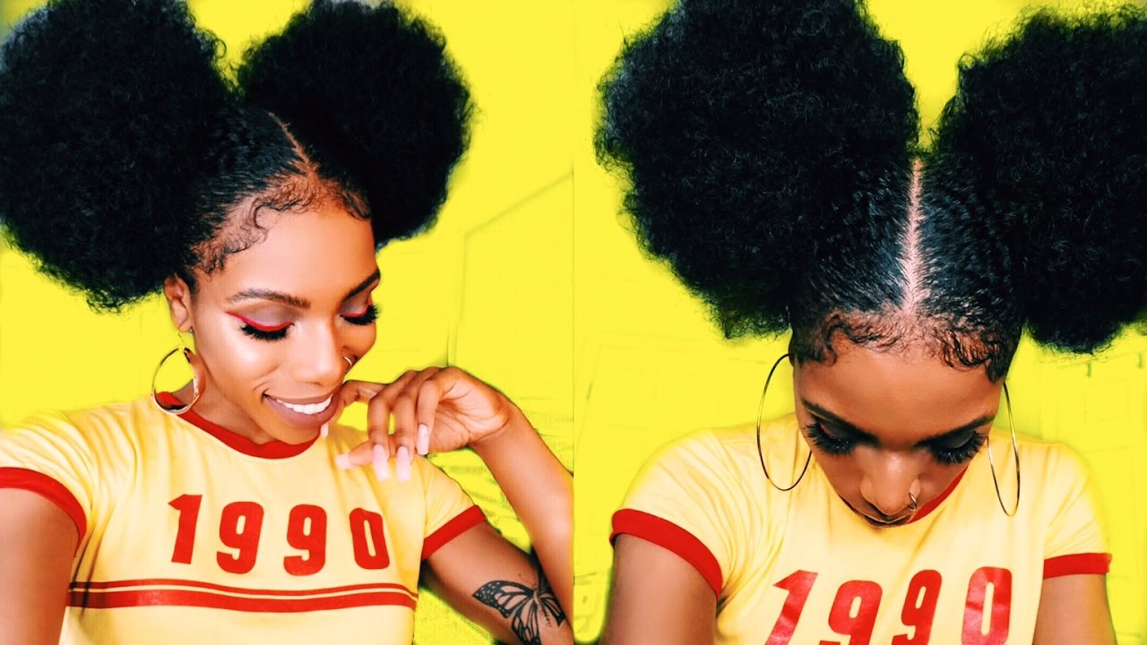 $5 AFRO PUFF & BABY HAIR GOALS⎮STYLE-TORIAL! 90s/70s ...