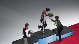 Yuzuru Hanyu, Moris Kvitelashvili, Kazuki Tomono Victory Ceremony
