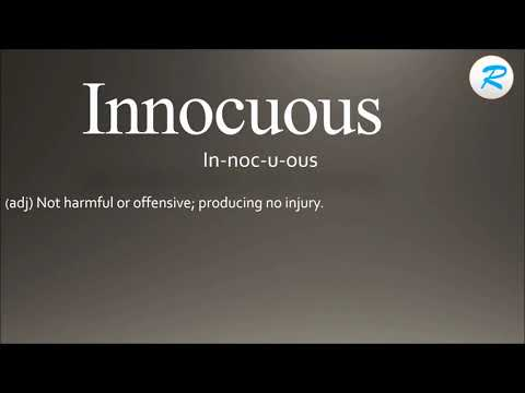 How to pronounce Innocuous ; Innocuous Pronunciation ; Innocuous meaning ; Innocuous definition