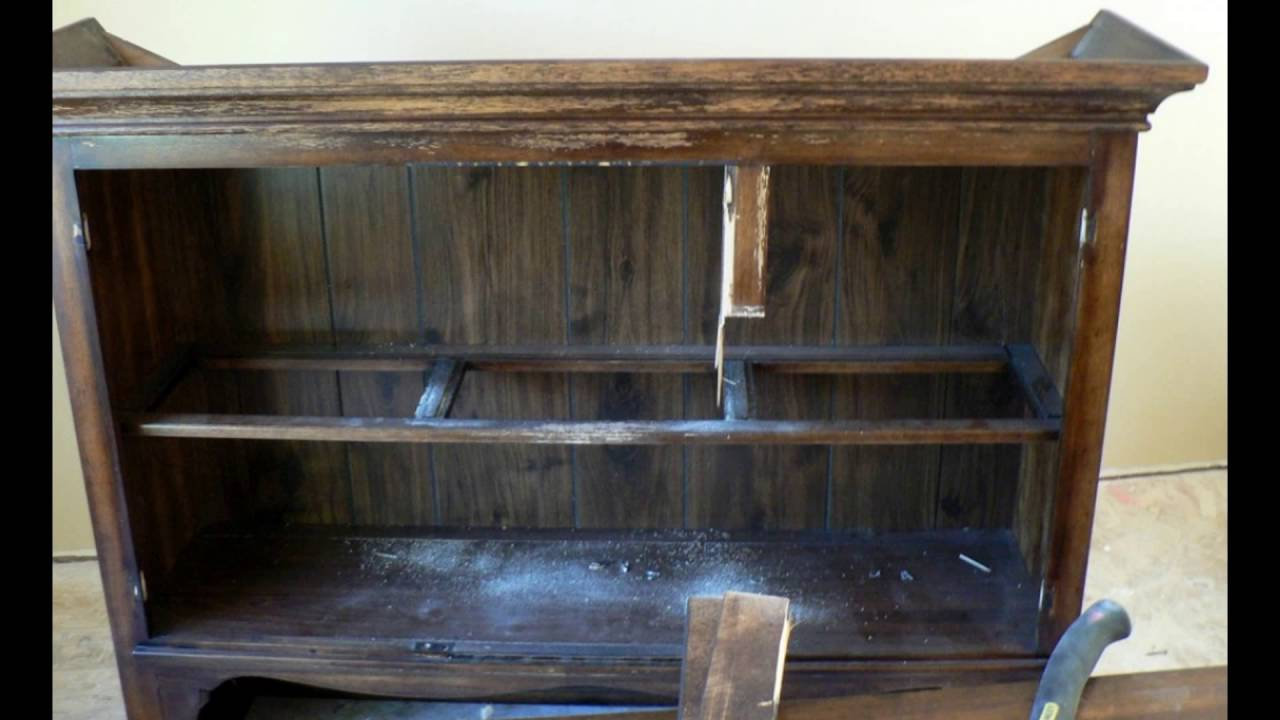 Distressed dark wood furniture
