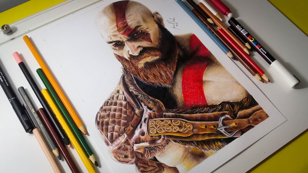 Kratos God Of War 4 Colored Pencil Drawing
