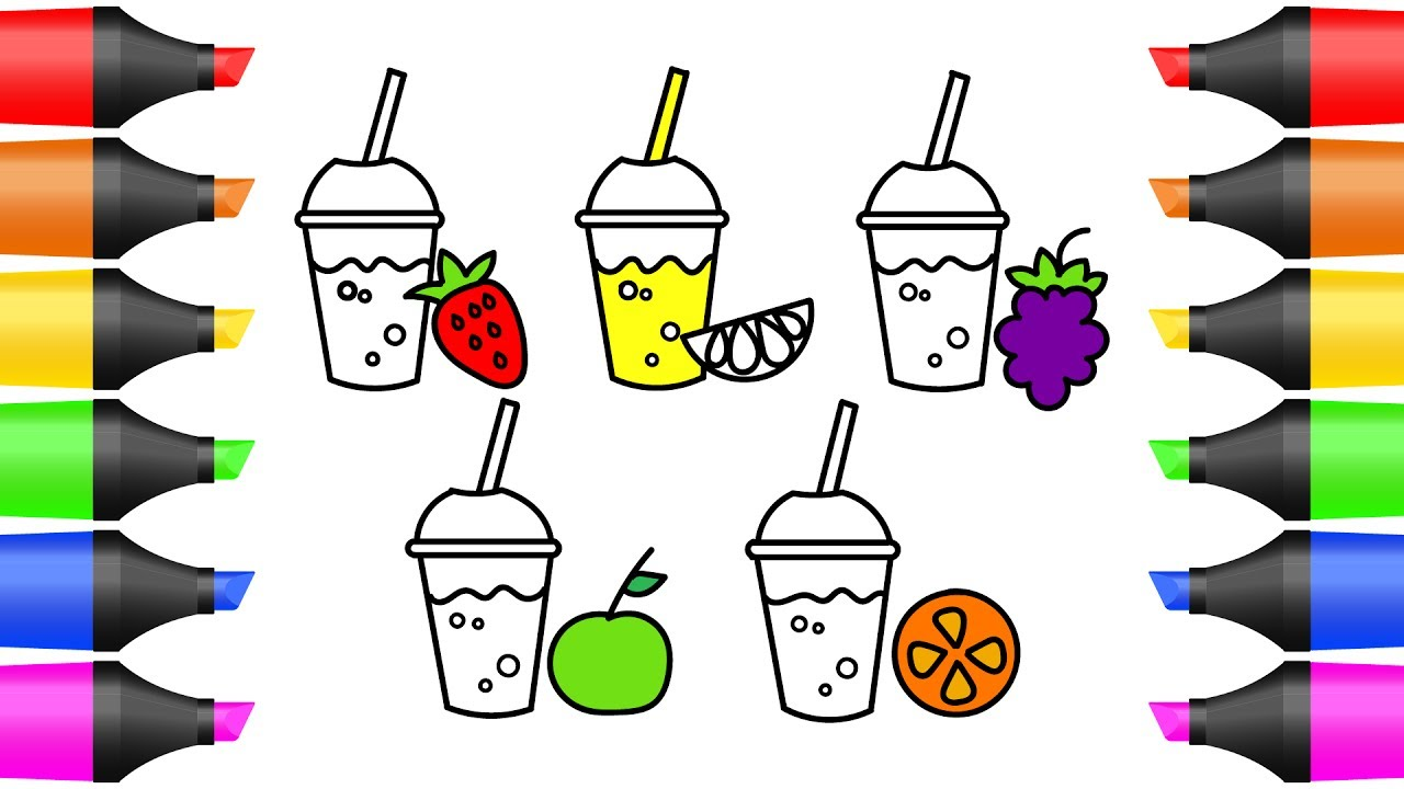 how to draw colorful juice fruit coloring pages for kids