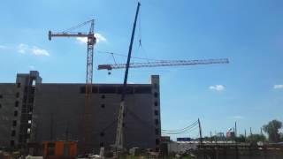 Работа автокрана Zoomlion QY80V 80 тонн - демонтаж башенного крана