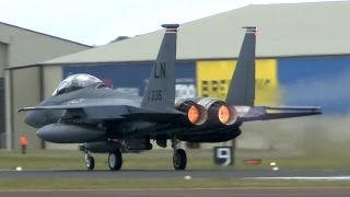 USAF F15 Strike Eagle full afterburner takeoff @ RAF Fairford
