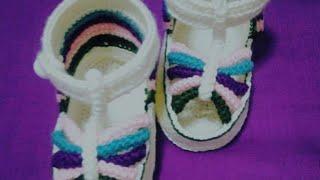 sandaletpatikÇocuk patik, bebek patik, sandalet patik, gökkuşağı modeli, örgü patik, _part 1