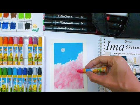 How I draw Clouds   Review Cheap Oil Pastels   Vẽ tranh sáp dầu đơn giản cùng Châu