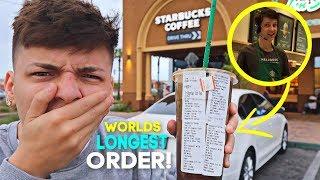 Ordering The Worlds LONGEST Starbucks Order (EXTREME FOOD CHALLENGE)