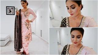 Full Face Makeup in Punjabi- Wearing Pink Suit  (Smokey Eyes look)