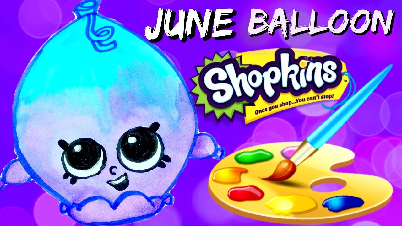 how to draw and color june balloon shopkins easy plus spk