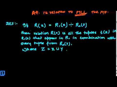 Division operation in relational algebra | database management.