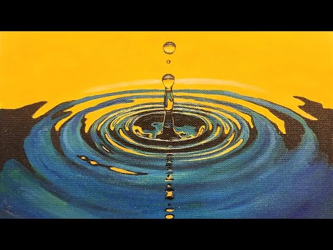Learn to Paint WATER DROP Ripples LIVE Acrylic Step by Step Free Painting Tutorial