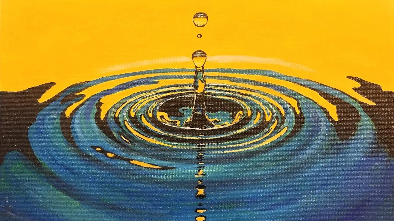 Learn to Paint WATER DROP Ripples LIVE Acrylic Step by ...