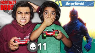 HELPING MY 5 YEAR OLD LITTLE BROTHER GET A VICTORY IN FORTNITE! | PLAYING DUOS WITH LITTLE KID