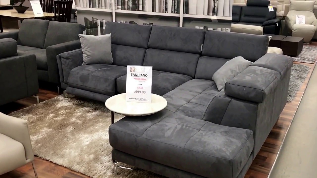 grey fabric sofa uk rounded sectional cover natuzzi editions dark corner suite factory outlet best price 1999