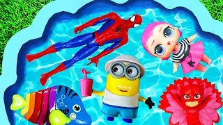 Learn Colors with Pool - Pj Masks, Paw Patrol, Super Heroes and Disney Princesses in Pool