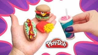 DIY Mini Fast Food for Dolls. How to make Play Doh Mcdonalds Menu