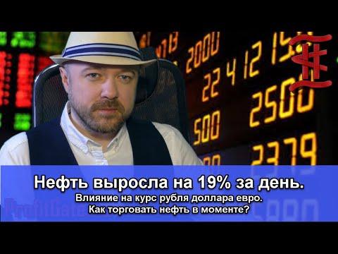 Нефть выросла на 19% за день. Влияние на курс рубля доллара евро. Прогноз. Как торговать нефть.