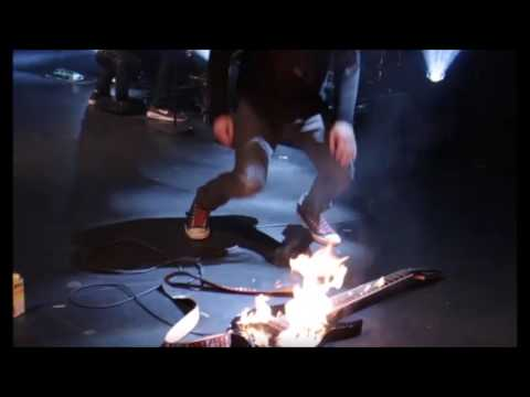 Suicide Silence smash gear and light guitar on fire in London, England on Mar 24th