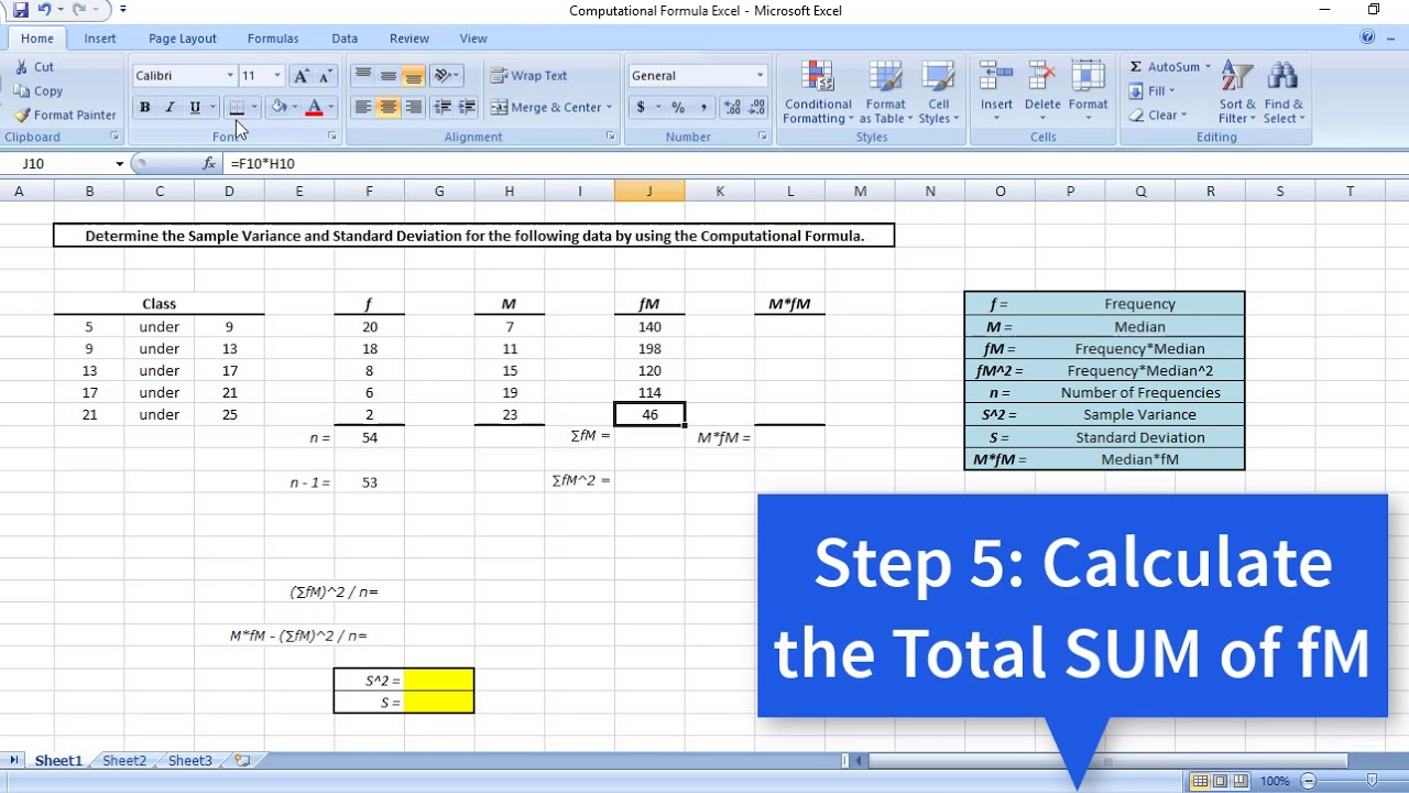 sample variance and standard deviation by using the computational