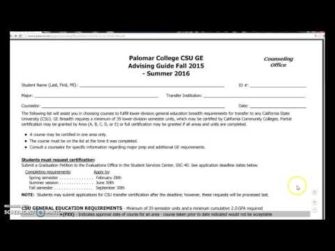 CSU General Education Requirements, Palomar College
